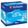 Verbatim CD-R 700MB 52x, 10ks - média, Crystal, AZO, jewel